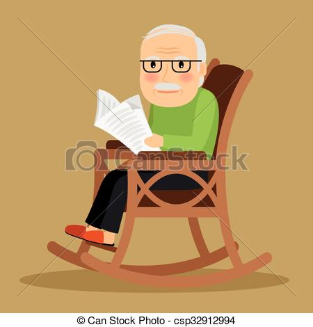 old-man-sitting-in-rocking-chair-and-drawing_csp32912994